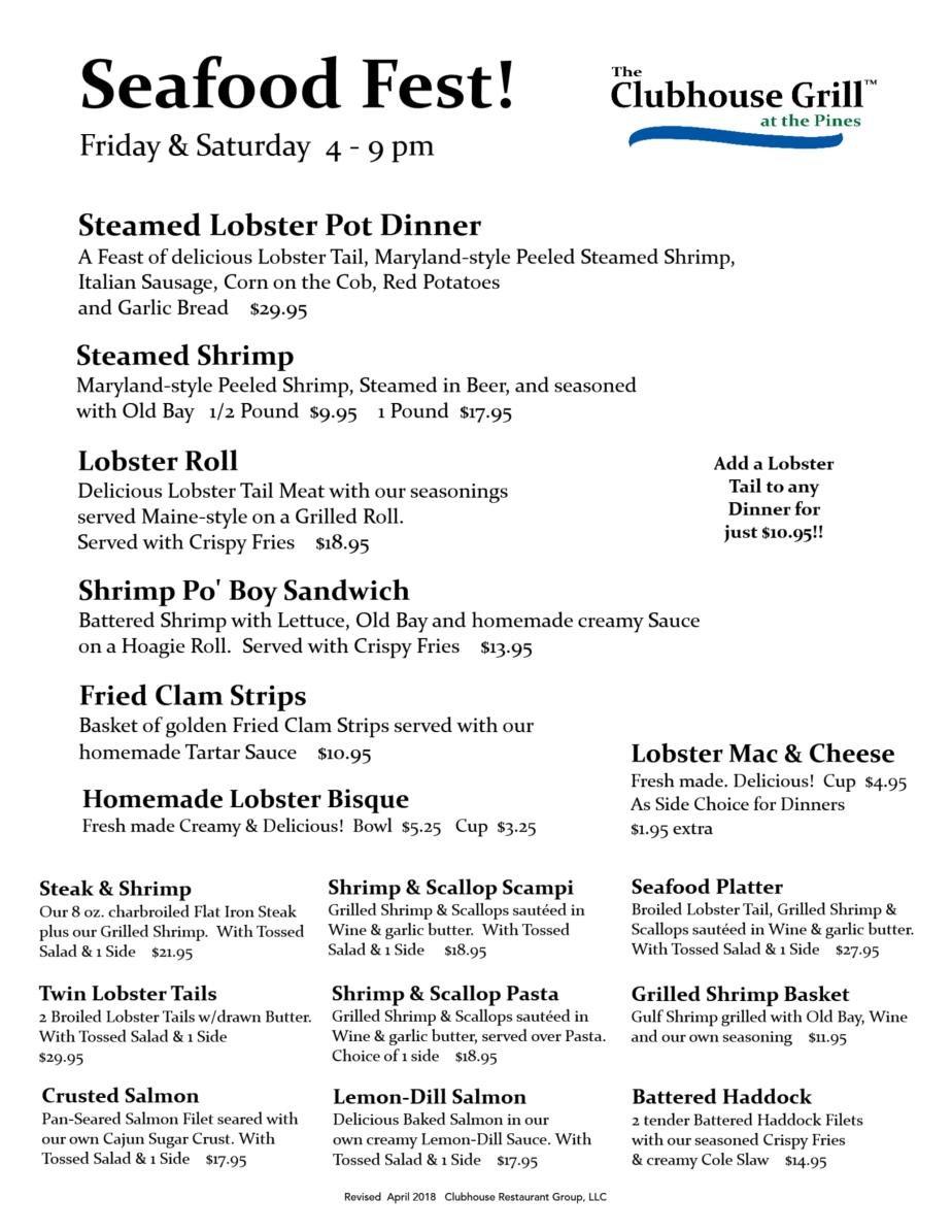 CG Seafood Fest menu