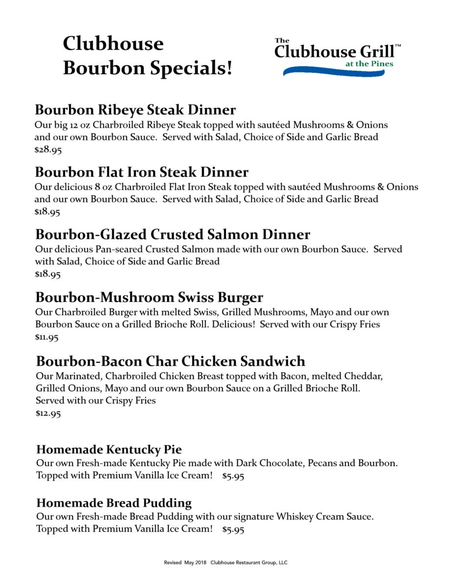 CG Bourbon Specials menu